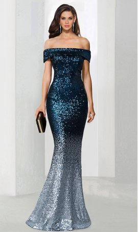 Chic shimmering off the shoulder ombre sequin mermaid formal Dress Gown