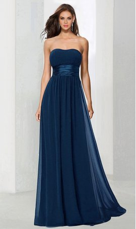Flawless strapless ruched floor length chiffon bridesmaid Dress Gown
