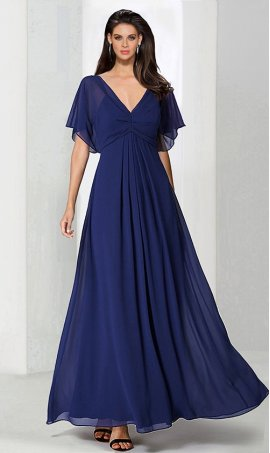 Chic flowing v neck flutter sleeve floor length chiffon Dress Gown
