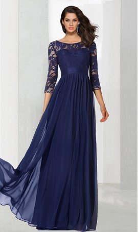 Chic flowy illusion lace long sleeve floor length chiffon Dress Gown