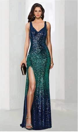 Charming v neck two tone ombre sequined Prom Formal Evening Dress Gown