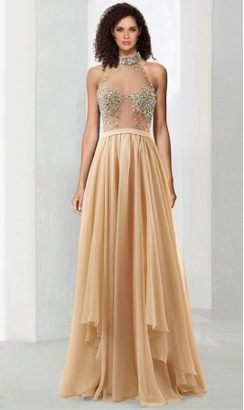 Charming illusion jeweled boice halter high neck floor length chiffon Dress Gown