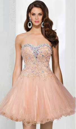 Alluring beaded Lace applique a line tulle short prom party Dress Gown