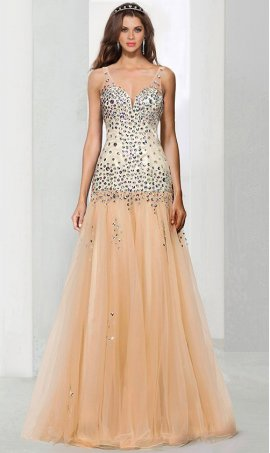 Chic absolutely amazing crystal beaded v neck drop waist tulle mermaid Dress Gown