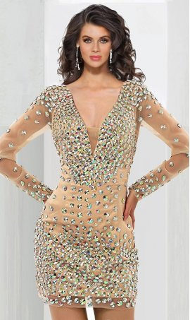 Gorgeous crystal beaded plunging v neck long sleeved short mini Dress Gown