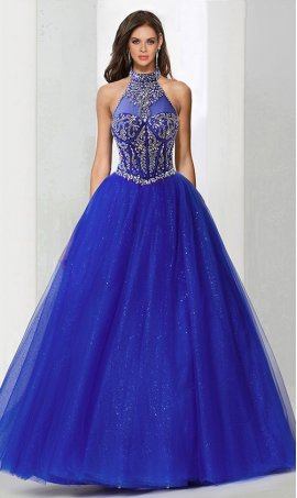 Chic one of a kind beaded illusion halter neckline tulle ball Dress Gown prom quinceanera formal evening Dress Gown