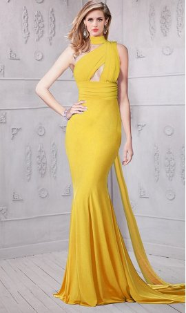 Chic unique one-shoulder halter cut-out bust jersey Dress Gown