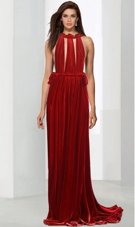 Chic absolutely fabulous open back double-plunging neckline velvet Dress Gown