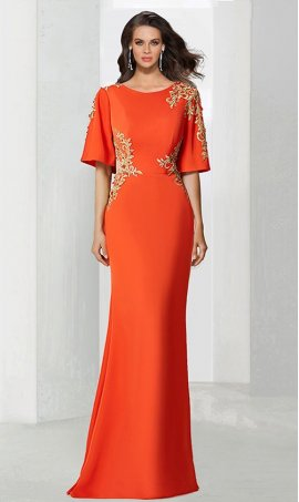 Chic exquisite lace applique high neck short sleeves floor length jersey Dress Gown