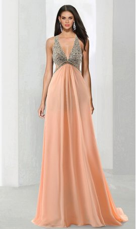 Charming beaded beaded bodice cut-out open back a line chiffon formal prom evening Dress Gown