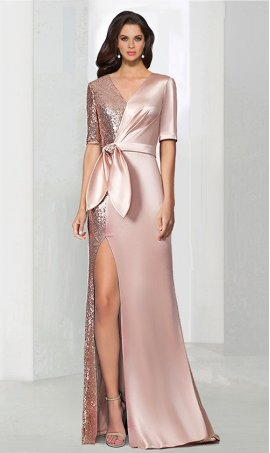 Chic tonal short sleeves v neck high thigh slit sequins satin evening Dress Gown