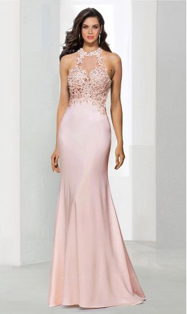 Chic regal beaded lace applique high halter neckline fit flare mermaid jersey Dress Gown