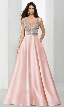 Chic stellar beaded bodice plunging v neck mesh illusion insert satin a line ball Dress Gown