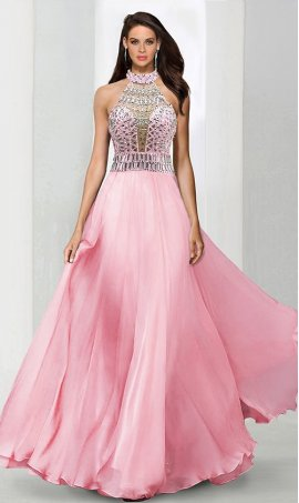 Chic seductive chic beaded sheer mesh halter high neck racer-back a line chiffon prom formal evening Dress Gown