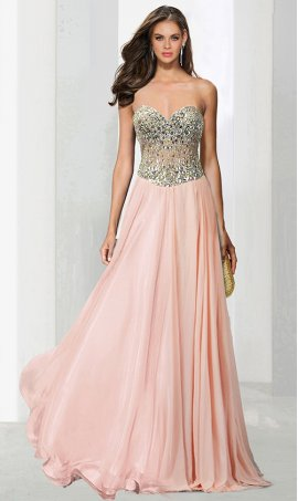 Chic adorable beaded strapless sweetheart lace-up back chiffon Dress Gown