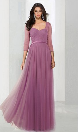 Chic mesh long sleeves sweetheart floor length tulle evening Dress Gown