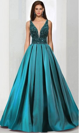 Chic fully beaded bodice plunging v neck satin aline ball Dress Gown Prom Formal Evening Dress Gown