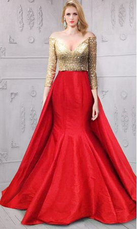 Chic plunging immaculately beaded off the shoulder long sleeved color block taffeta Dress Gown