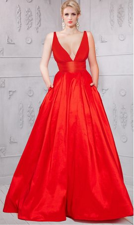 Chic plunging v neckline open back red taffeta ball Dress Gown