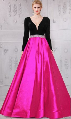 Flawless plunging v-neckline color block long sleeved ball Dress Gown prom formal evening Dress Gown