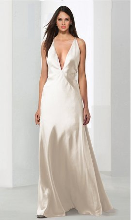 dramaticplunging v neckline satin evening Dress Gown