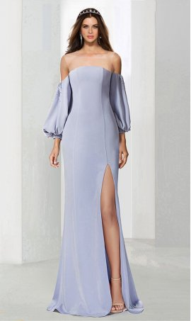 Chic stylish illusion off the shoulder long bishop sleeves high slit evening Dress Gown