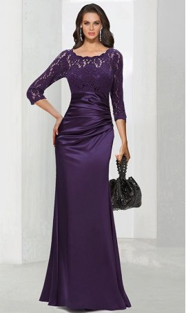 dramaticlace long sleeve floor length satin evening Dress Gown