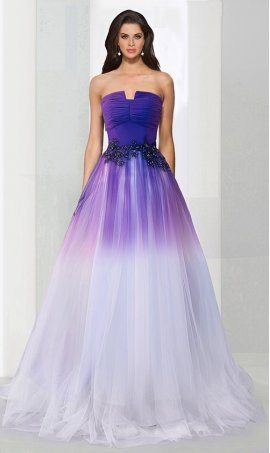 Chic flawless strapless purple white ombre tulle ball Dress Gown Prom Formal Evening Dress Gown