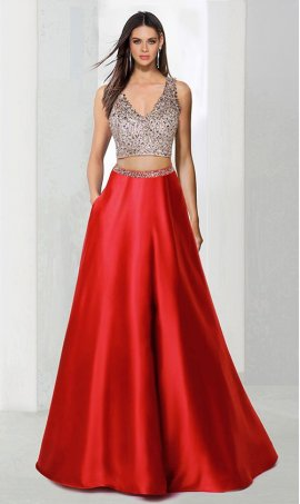 Chic fully beaded deep v neck cut out open back two piece a line satin ball Dress Gown Prom Formal Evening Dress Gown