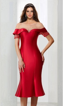 Chic stunning beaded off the shoulder short sleeves knee length short satin Dress Gown