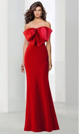Flawless bow detailed strapless sweetheart floor length mermaid jersey Dress Gown
