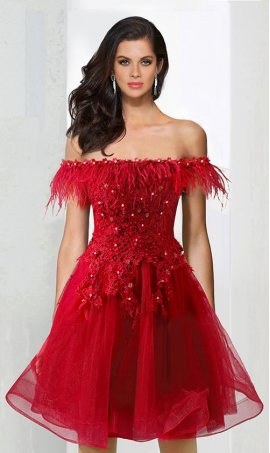 Chic flirty feather beaded lace applique off the shoulder a line tulle short Prom Formal Evening Dress Gown