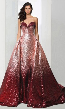 Chic unique ombre sequined strapless sweetheart Prom Formal Evening Dress Gown