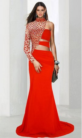 Chic daring jeweled encrusted one shoulder long sleeve cut-outs jersey Dress Gown