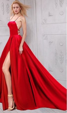 Chic gamorousy lace up strap open back high thigh slit satin Prom Formal Evening Dress Gown