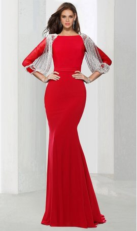 Chic jaw-dropping sequin embellished long sleeve floor length jersey Dress Gown