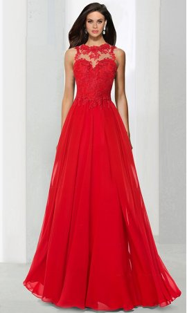 Alluring sheer illusion round neck lace applique floor length chiffon prom formal evening Dress Gown