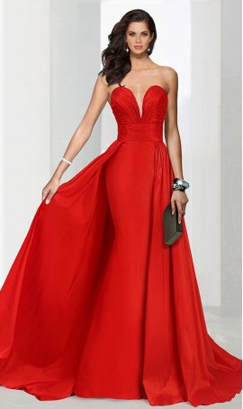 Chic strapless plunging sweetheart cape style train floor length taffeta Dress Gown