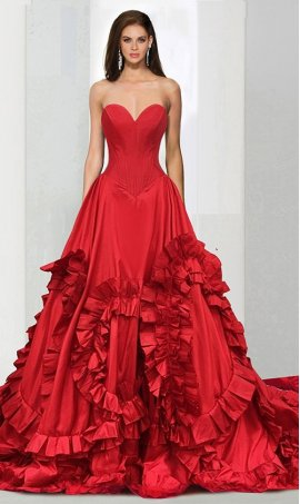 Chic eye-catching strapless sweetheart long train 3D ruffle swirls satin ball Dress Gown prom formal evening Dress Gown