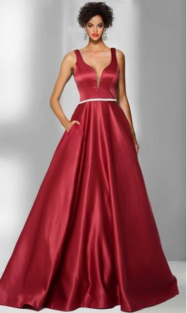 Chic regal satin plunge illusion V-neckline a line ball Dress Gown Prom Formal Evening Dress Gown
