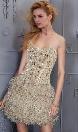 Chic Rhinestone Embellished Feather SkirtStrapless Sweetheart short Prom Formal Evening Dress Gown