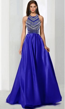 Chic show stopping beaded bodice halter top a line satin ball Dress Gown Prom Formal Evening Dress Gown
