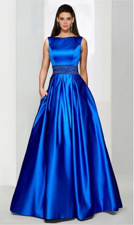 Chic classic beaded waist halter neckline a line satin ball Dress Gown Prom Formal Evening Dress Gown