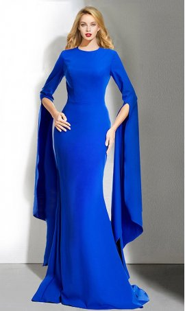 dramaticCape long sleeve floor length prom formal Dress Gown