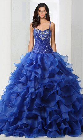 Chic crystals adorned tired ruffled organza skirt quinceanera ball Dress Gown prom formal evening Dress Gown