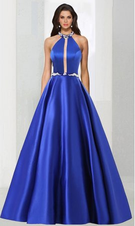 Fabulous illusion inset beaded high halter chocker neckline satin ball Dress Gown prom formal evening Dress Gown