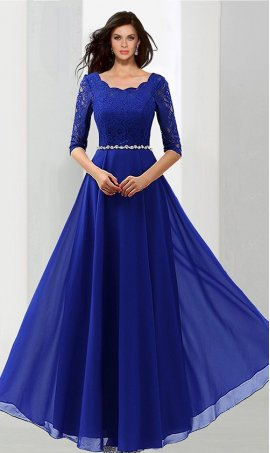Chic exquisite lace bodice three quarter length sleeve chiffon evening Dress Gown