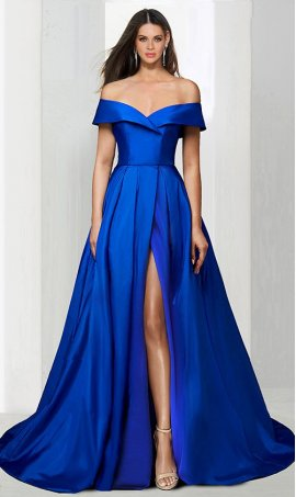 elegant off the shoulder A-line high thigh slit satin Prom Formal Evening Dress Gown
