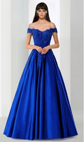 Chic dainty off the shoulder beaded lace applique A line satin ball Dress Gown prom formal evening Dress Gown