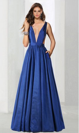 Flawless plunging V-neck open back taffeta ball Dress Gown formal evening Prom Formal Evening Dress Gown